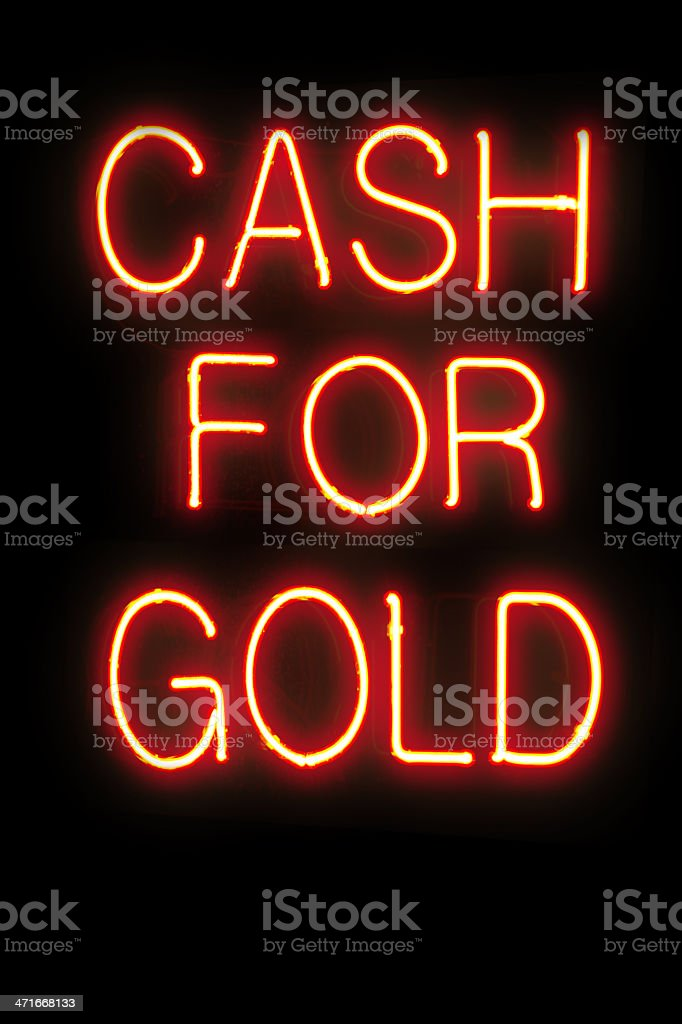 Neon sign, Cash For Gold royalty-free stock photo