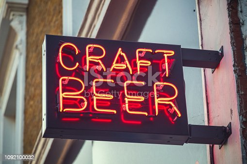 istock Neon sign for craft beer 1092100032