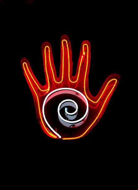 Neon sign for Palm Reading stok fotoğrafı