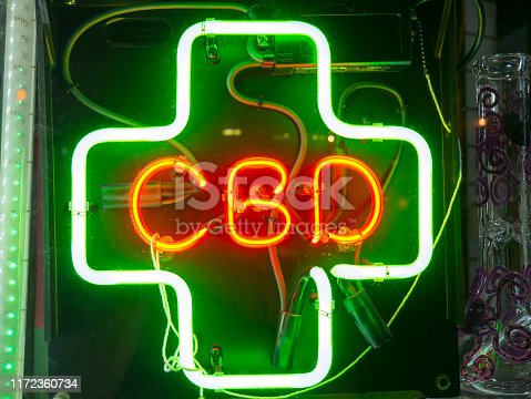 CBD Neon sign in a store front