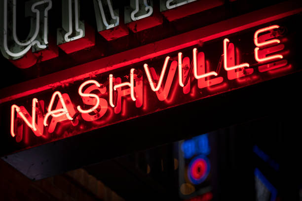 Neon sign in Nashville Tennessee USA stock photo