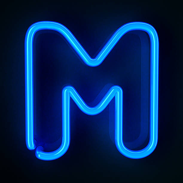 Neon Sign Letter M stock photo