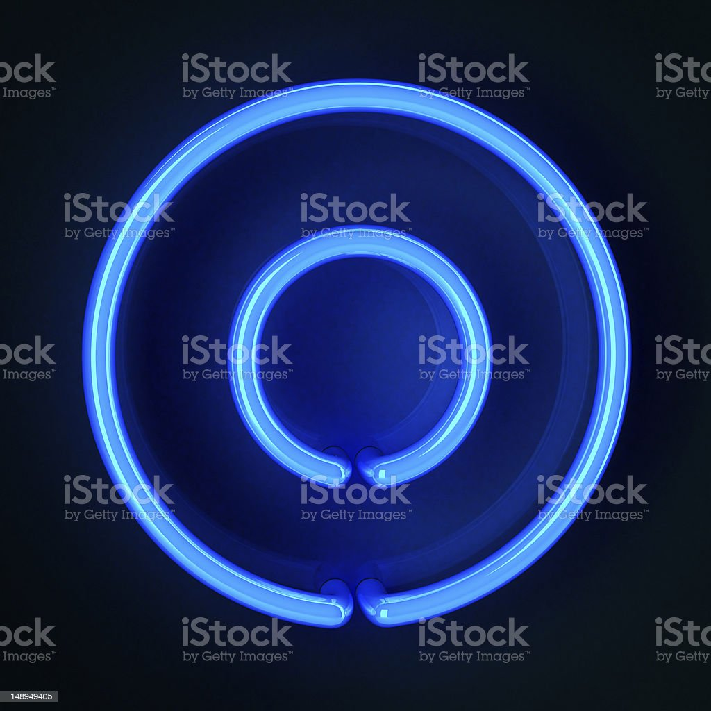 Neon Sign Letter O stock photo