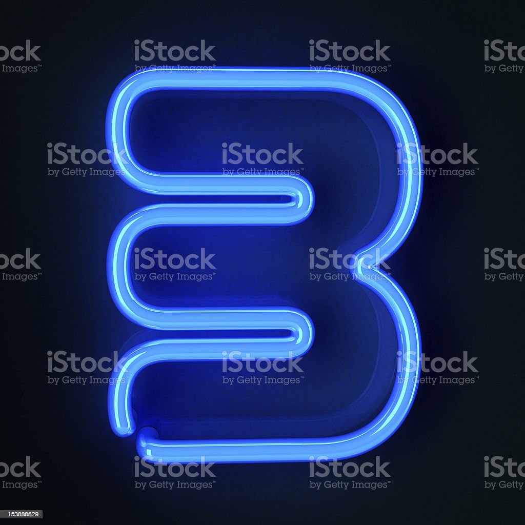 Neon Sign Number Three royalty-free stock photo