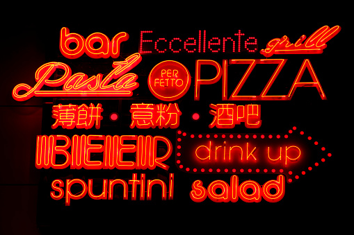 Neon sign of a restaurant