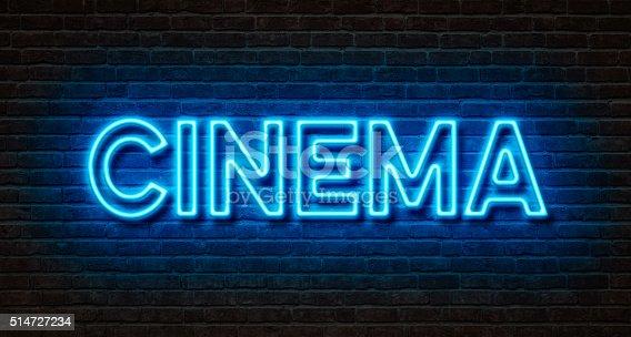 istock Neon sign on a brick wall - Cinema 514727234