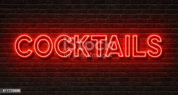 istock Neon sign on a brick wall - Cocktails 511725696