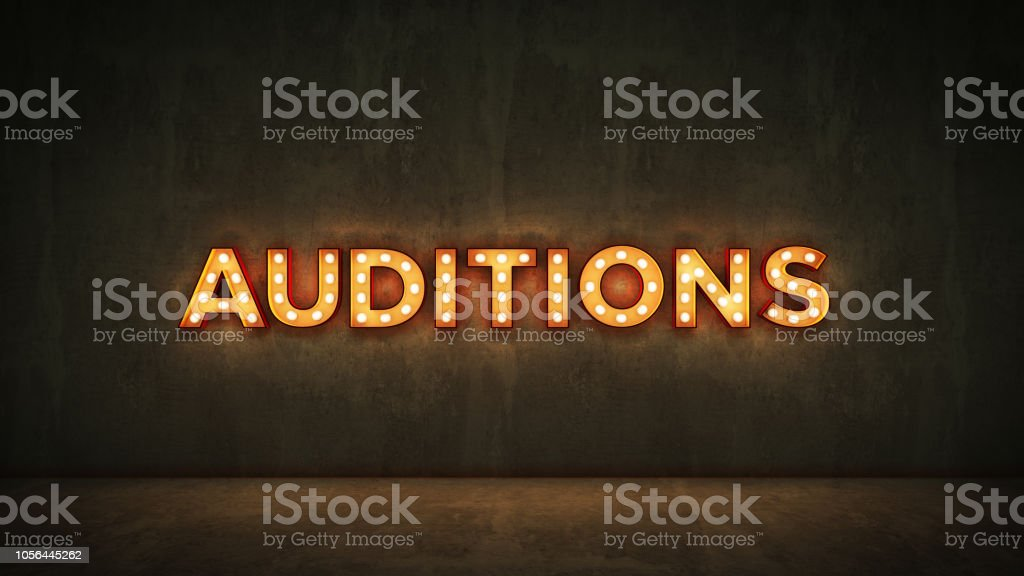Neon Sign on Brick Wall background - Auditions. 3d rendering stock photo