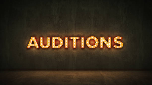 neon sign on brick wall background - auditions. 3d rendering - audition stock photos and pictures