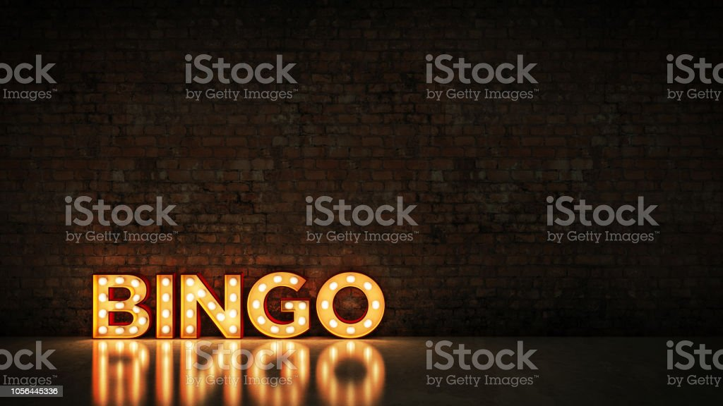 Neon Sign on Brick Wall background - Bingo. 3d rendering stock photo