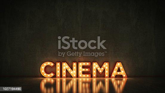 991292404 istock photo Neon Sign on Brick Wall background - Cinema. 3d rendering 1027194490