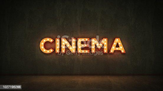 991292404 istock photo Neon Sign on Brick Wall background - Cinema. 3d rendering 1027195266