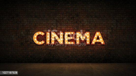991292404 istock photo Neon Sign on Brick Wall background - Cinema. 3d rendering 1027197528