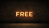 Neon Sign on Brick Wall background - Free. 3d rendering