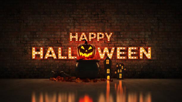 neonskylt på tegelvägg bakgrund - happy halloween. 3d-rendering - hand tänder ett ljus bildbanksfoton och bilder