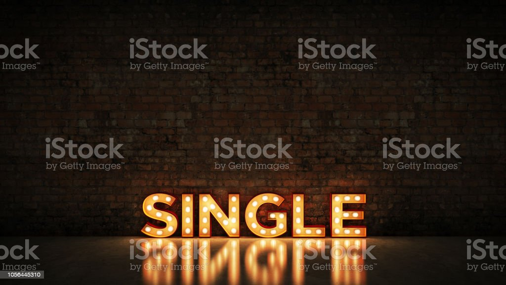 Neon Sign on Brick Wall background - Single. 3d rendering stock photo