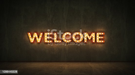 1056445350 istock photo Neon Sign on Brick Wall background - Welcome. 3d rendering 1056445328