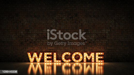 1056445350 istock photo Neon Sign on Brick Wall background - Welcome. 3d rendering 1056445338