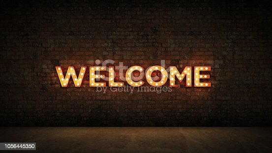 1056445350 istock photo Neon Sign on Brick Wall background - Welcome. 3d rendering 1056445350