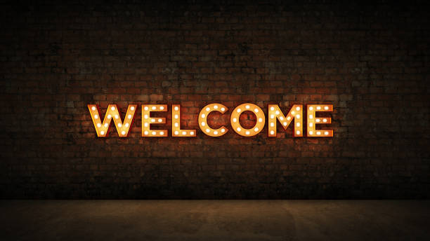 Neon Sign on Brick Wall background - Welcome. 3d rendering Neon Sign on Brick Wall background - Welcome. 3d rendering welcome sign stock pictures, royalty-free photos & images