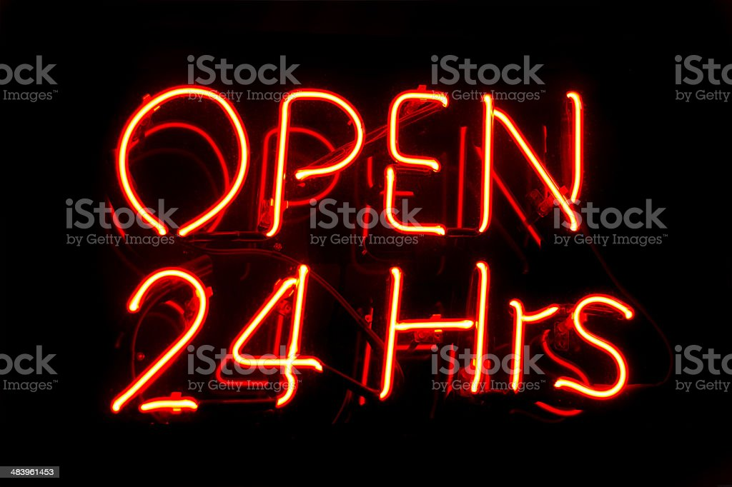 Neon sign, open 24 hours stock photo