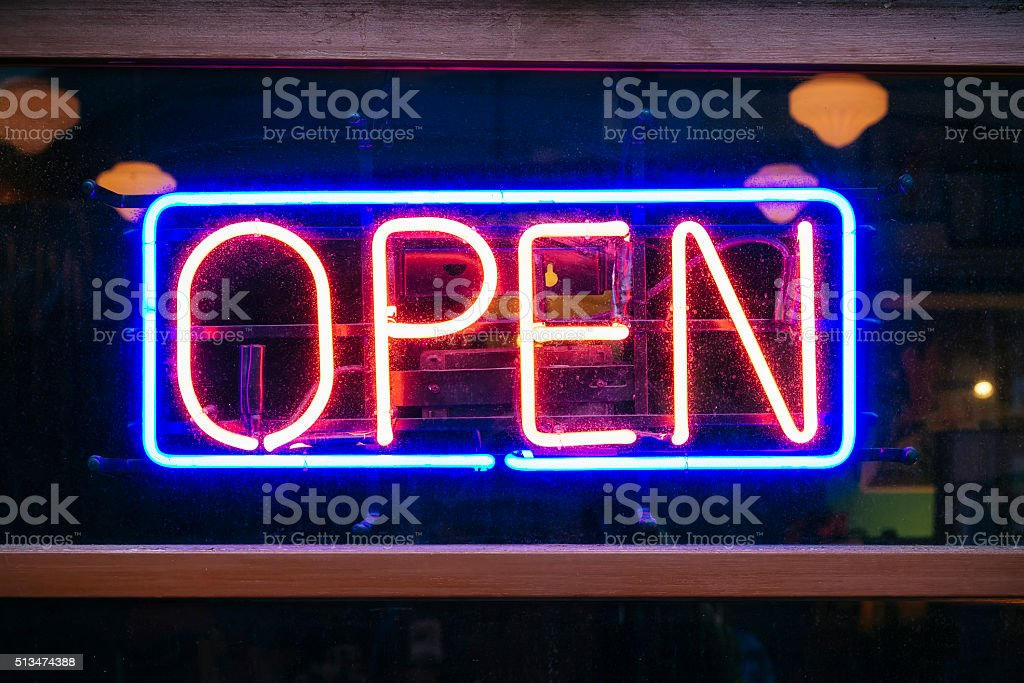 Neon Sign Open signage Light Bar Restaurant Shop stock photo