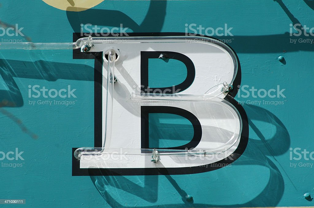 B Neon Sign stock photo