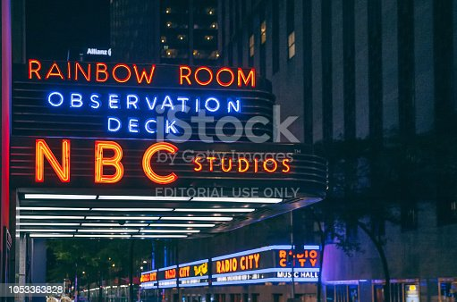 New York, New York, USA-September 16th, 2018: Sign for the Rainbow Room outside a newly renovated Rockefeller Center in mid town Manhattan.NBC Studio sign can be seen also.