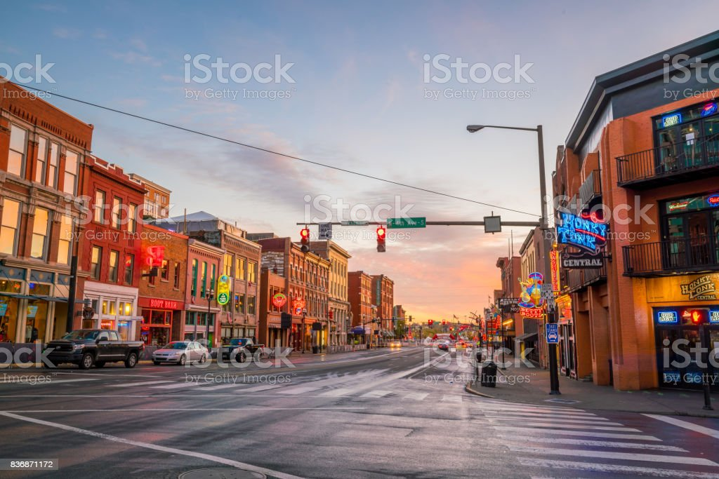 Neon signs on Lower Broadway Nashville stock photo