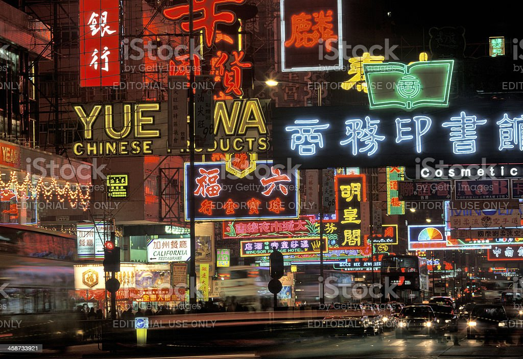 neon signs on Nathan Road Kowloon Hong Kong royalty-free stock photo