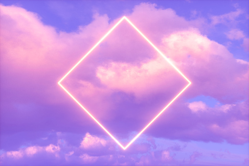 Neon Square Frame in the Sky, Futuristic Background.