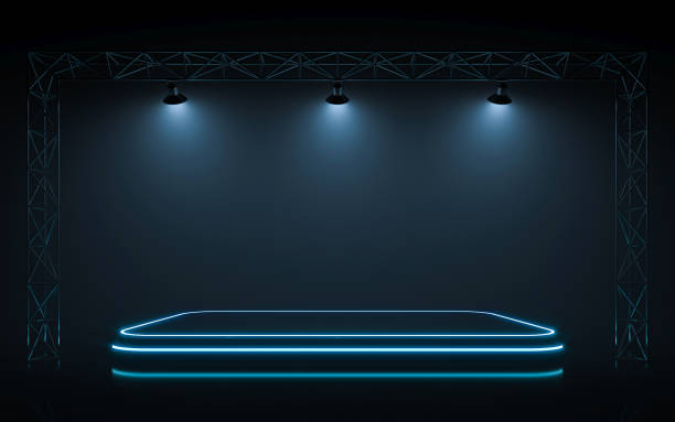 Neon stage Neon stage with spotlight background. 3d rendering incidental people stock pictures, royalty-free photos & images
