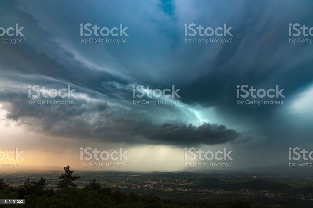Neon storm stock photo