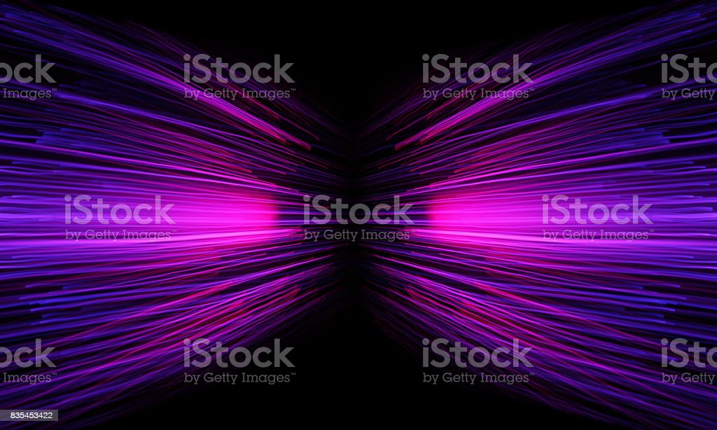 neon streaming zoom tunnel stock photo