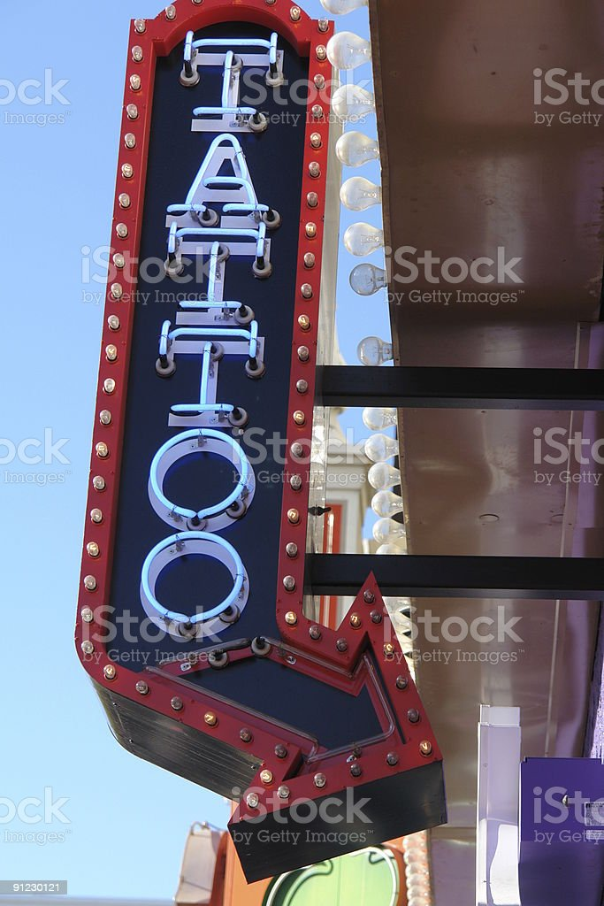 Neon Tattoo Sign Stock Photo Download Image Now Istock