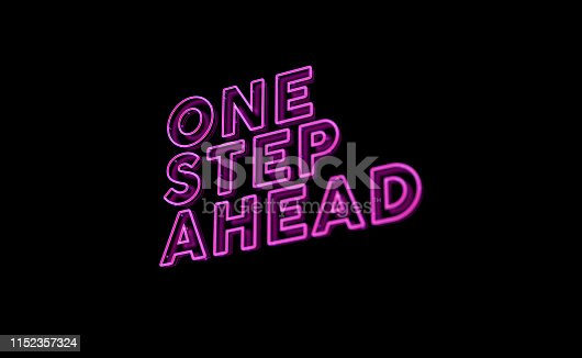 istock neon text one step ahead 1152357324