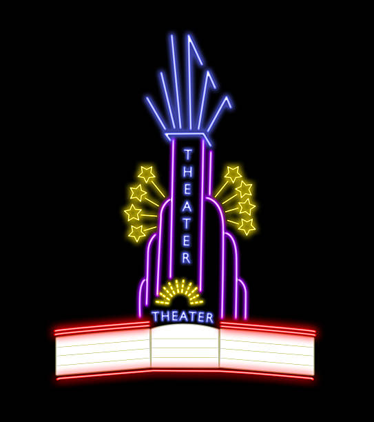 Neon theater Just add text, movie title if you want print options available for your home, your bar or plus... theater marquee commercial sign stock pictures, royalty-free photos & images