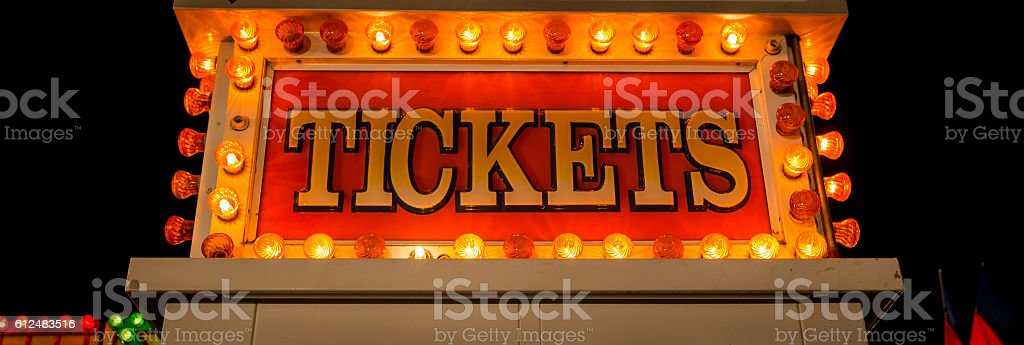 neon ticket sign stock photo