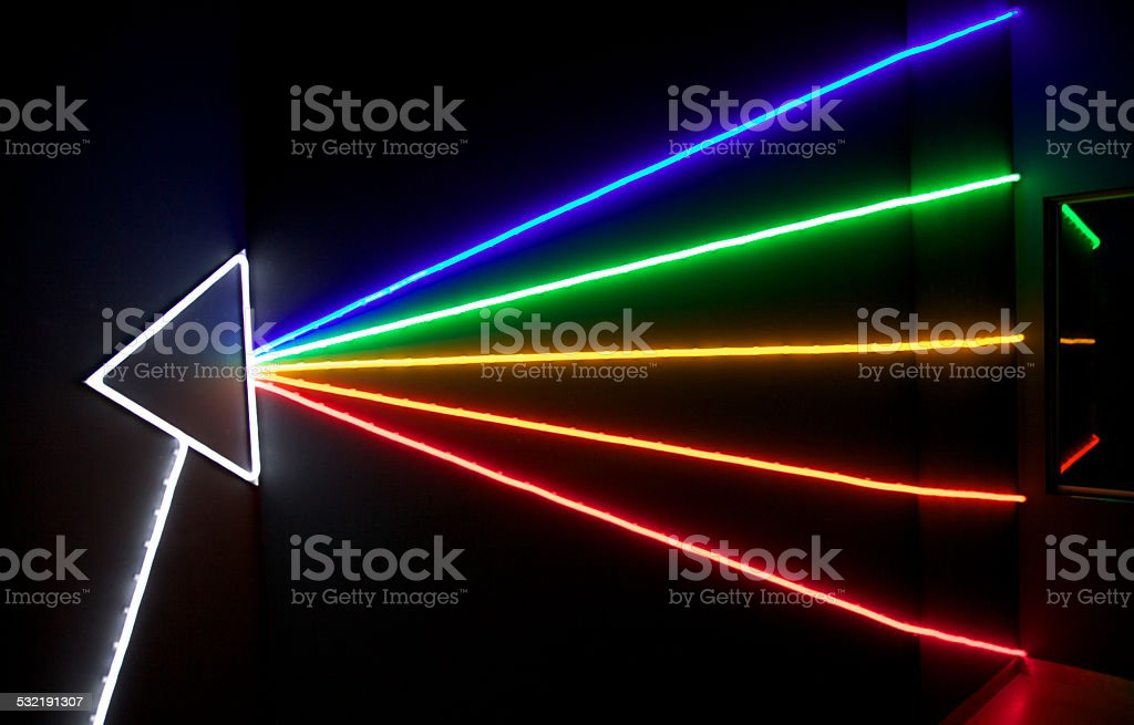 Neon triangle prims reflection multi color laser light stock photo