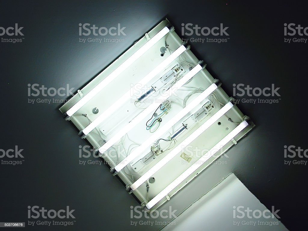 Neon tube in the ceiling stock photo