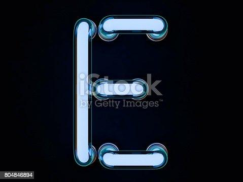 istock Neon tube letter on black background. 3D rendering 804846894