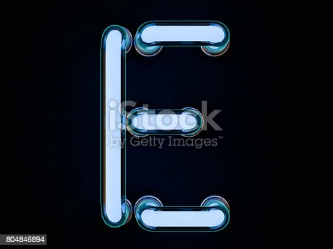 804846868 istock photo Neon tube letter on black background. 3D rendering 804846894