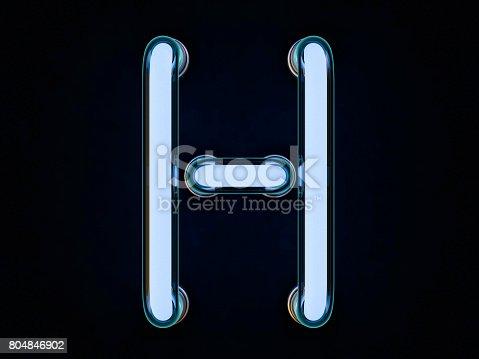 istock Neon tube letter on black background. 3D rendering 804846902