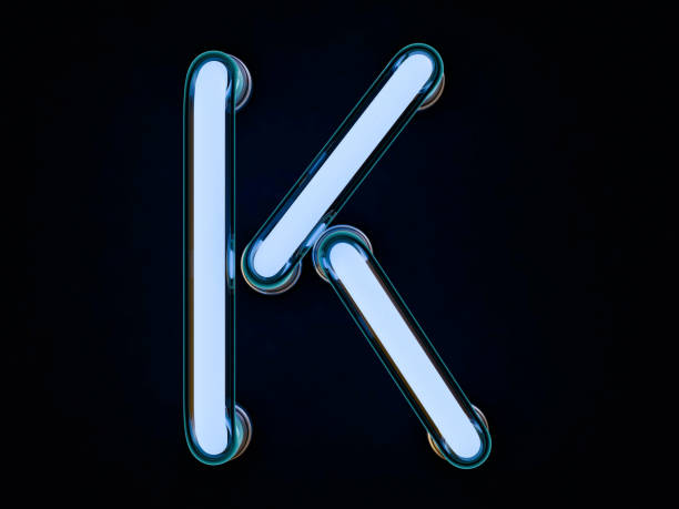 Neon tube letter on black background. 3D rendering Neon tube letter on black background. 3D rendering k icon stock pictures, royalty-free photos & images