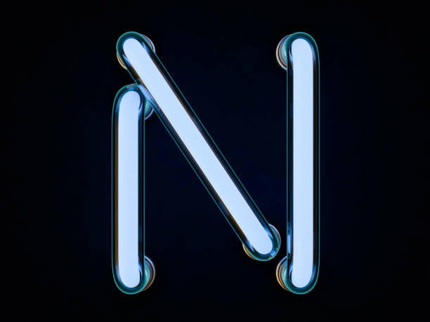 Neon Röhre Buchstaben auf schwarzem Hintergrund. 3D-Rendering – Foto