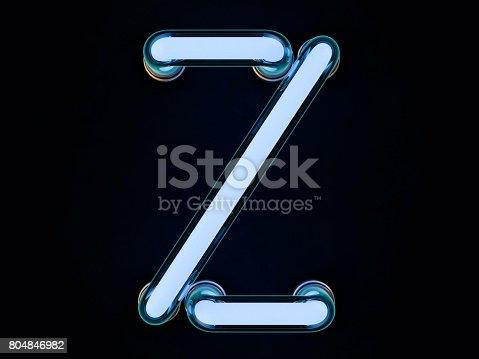 istock Neon tube letter on black background. 3D rendering 804846982