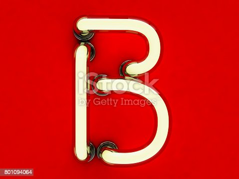804846868 istock photo Neon tube letter on red background. 3D rendering 801094064