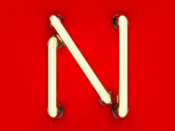 Neon Röhre Buchstaben auf rotem Grund. 3D-Rendering – Foto