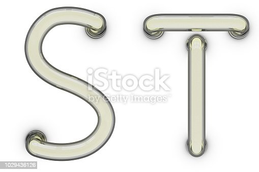 Neon tube letter on yellow background. 3D rendering