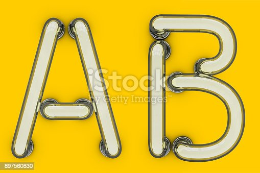 804846868 istock photo Neon tube letter on yellow background. 3D 897560830